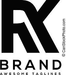 litera, wektor, śmiały, rk, logo, sport, silny