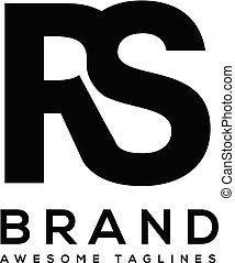 litera, wektor, śmiały, rs, logo, sport, silny