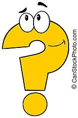 litera, znak zapytania, żółty