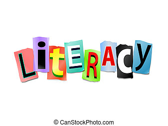 Illustration depicting cut out letters arranged to form the word literacy.