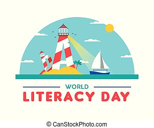 Literacy day card concept for people education