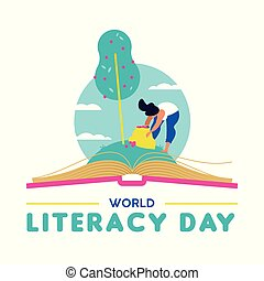 Literacy Day card for people education worldwide