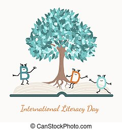 Literacy day concept tree book letter characters
