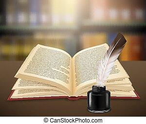 literair, realistisch, boek, open, werken