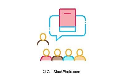 literary community Icon Animation. color literary community animated icon on white background