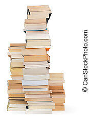 literary matters - three towers of books on white background