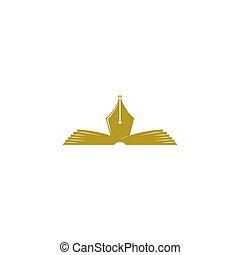 literatura, empresa / negocio, autor, club, símbolo, poesía, emblema, poeta, pluma, libro, fuente, juntos, tarjetas, logotipo, educación, abierto, o