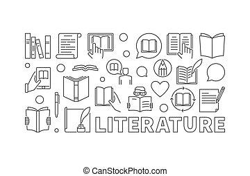 literatura, vector, contorno, ilustración