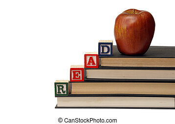 Literature - Alphabet blocks spell out the word read on a...