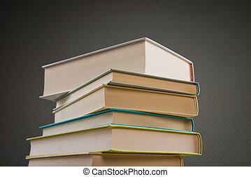Pile of hardcover books, education and literature concept.
