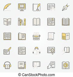 Literature colorful icons set