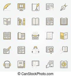 Literature colorful icons set