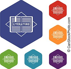 Literature icons vector hexahedron