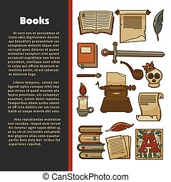 Literature poster of vector library books
