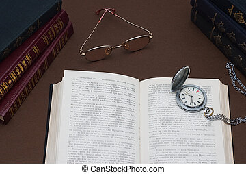 Literature - Studio photograph of books on table.