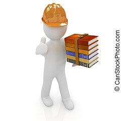 literatuur, duim, technisch, hard, op, kadootjes, achtergrond, witte , man, hoedje, best, 3d