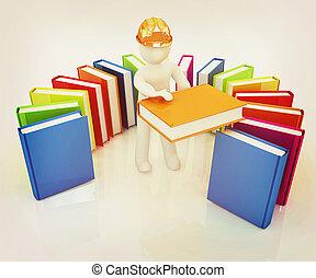 literatuur, illustration., technisch, ouderwetse , hard, witte , man, hoedje, style., best, 3d