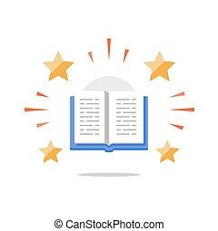 literatuur, storytelling, concept, boekjes , leren, lezende