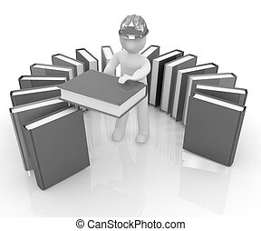 literatuur, technisch, hard, witte , man, hoedje, best, 3d