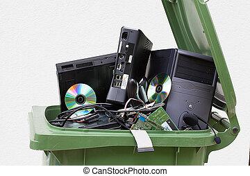 literie, informatique, casier, jeté