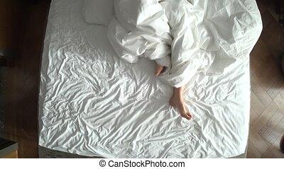 literie, lit, au-dessus, 4k, femme, blanc, jambes, vue