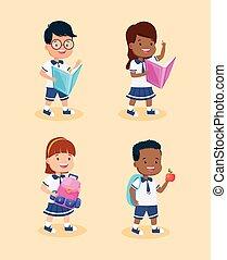 litery, dzieciaki, studenci, grupa