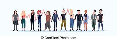 litery, ludzie, hairstyles, samica, modny, uśmiechanie się,...