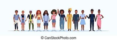 litery, ludzie, hairstyles, samica, modny, uśmiechnięte stanie, różny, długość, biały, szczęśliwy, chodząc, pełny, mężczyźni, tło, poziomy, rysunek, kobiety, razem, amerykanka, afrykański samczyk, odzież