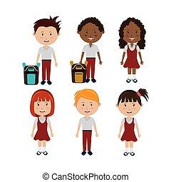 litery, studenci, mały, grupa