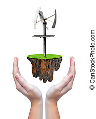litet, ö, med, slingra turbin
