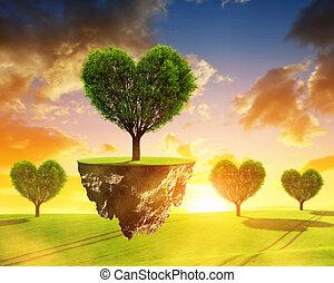 litet, ö, med, träd, in, den, form, heart.