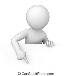 litet, 3, mänsklig, pekar, a, finger, nedåt