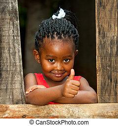 litet, afrikansk, flicka, hos, trä häleri, med, tummar,...
