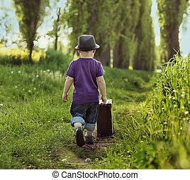 litet barn, bärande, a, resväska