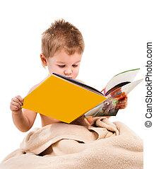 litet barn, leker, under, beige, handduk
