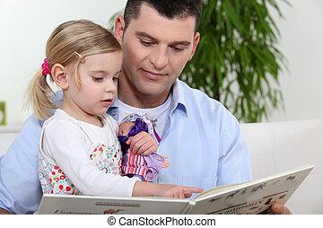 litet, bok, flicka, bemanna läsa