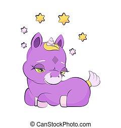 litet, enhörning, söt, stjärna, lavander, krona