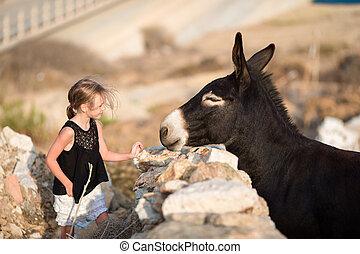 litet, förtjusande, flicka, med, åsna, på, mykonos