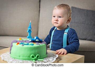 litet, fira, födelsedag, boyl, första