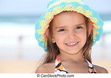 litet, hatt, flicka