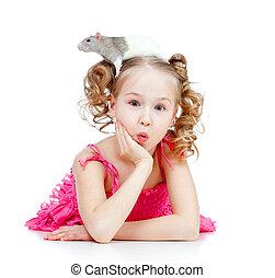 litet, henne, husdjuret, huvud, råtta, flicka