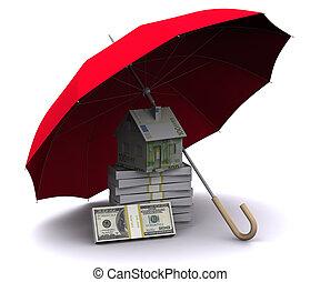 litet, hus, med, paraply