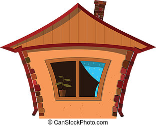 litet hus, vektor, illustration