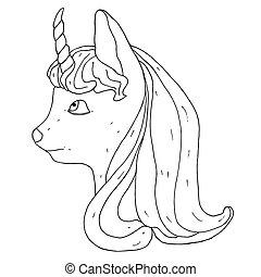 litet, huvud, vektor, unicorn., enhörning, monokrom