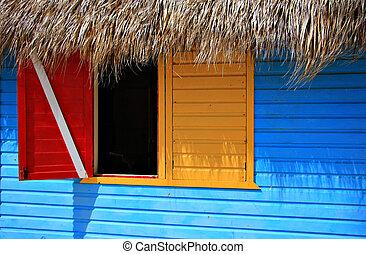 litet, karibisk, fönster., färgrik