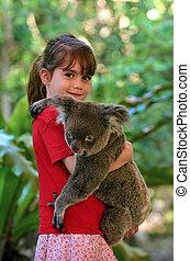 litet, koala, flicka, holdingen