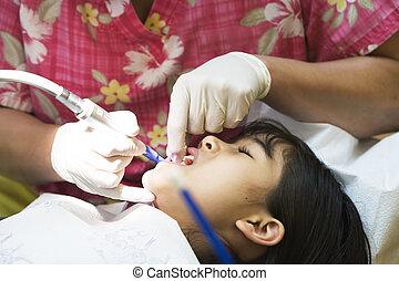litet, kontor, dental, rengjort, tänder, flicka, ha