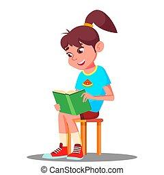 litet, läsning, concept., isolerat, illustration, bok, vector., hem, flicka, utbildning, smart
