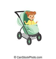 litet, lurar, handtag, sittande, turkos, illustration, baby, vektor, säkerhet, liten, transport, flicka, förtjusande, flanör