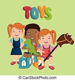 litet, lurar, spelande leksaker, tecken